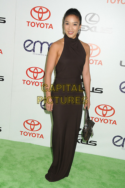 Michelle Kwan.2011 Environmental Media Awards held at Warner Bros. Studios, Burbank, California, USA, 15th October 2011 .full length brown polo high neck long maxi dress .CAP/ADM/BP.©Byron Purvis/AdMedia/Capital Pictures.