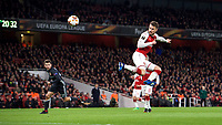 Aaron Ramsey of Arsenal scores his second goal during the UEFA Europa League QF 1st leg match between Arsenal and CSKA Moscow  at the Emirates Stadium, London, England on 5 April 2018. Photo by Andrew Aleksiejczuk / PRiME Media Images.
