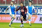 SD Eibar's Takashi Inui (c) and CD Leganes' Darko Brasanac (l) and Unai Bustinza during La Liga match. September 15,2017. (ALTERPHOTOS/Acero)