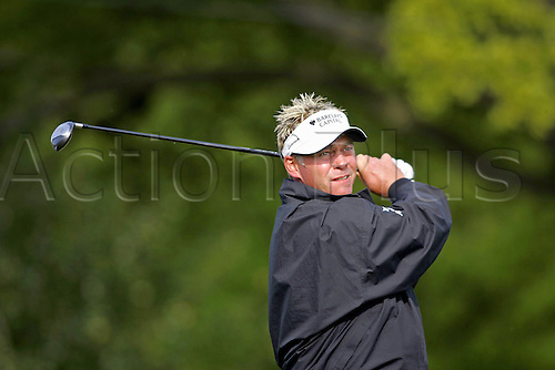 12 May 2005: Northern Irish golfer Darren Clarke looks into the distance after playing a tee shot during the first round of the The Daily Telegraph Dunlop Masters played at the Forest of Arden, Warwickshire. Photo: Neil Tingle/Action Plus..050512 golf golfer
