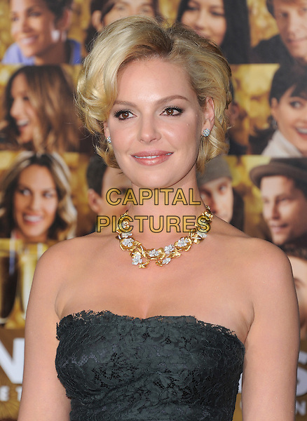 "Katherine Heigl.The World Premiere of ""New Year's Eve' held at The Grauman's Chinese Theatre in Hollywood, California, USA..December 5th, 2011.headshot portrait black strapless lace gold diamond necklace jewellery jewelry .CAP/RKE/DVS.©DVS/RockinExposures/Capital Pictures."