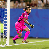 GRENOBLE, FRANCE - JUNE 18: Nicole Mcclure #13 of the Jamaican National Team during a game between Jamaica and Australia at Stade des Alpes on June 18, 2019 in Grenoble, France.
