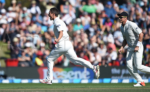 21.02.2016. Christchurch New Zealand.  Trent Boult celebrates the wicket of Khawaja on Day 2 of the 2nd test match. New Zealand Black Caps versus Australia. Hagley Oval in Christchurch, New Zealand. Sunday 21 February 2016.