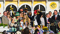 The connection of I'll Have Another( no. 9, purple cap) celebrate their win in the winner's circle for the Preakness Stakes to grab the second leg of the Triple Crown at Pimlico Race Course on May 19, 2012