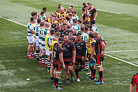 The Ealing Trailfinders and Dragons teams after the Friendly match between Ealing Trailfinders and Dragons  at Castle Bar , West Ealing , England  on 11 August 2018. Photo by David Horn / PRiME Media Images.