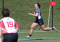 Penn State women's rugby Tess Feury en route to scoring a try against Rutgers 2 women's rugby during the Big Ten Women's Rugby 7's Tournament on April 9, 2017. Penn State won 73-0. Photo/©2017 Craig Houtz