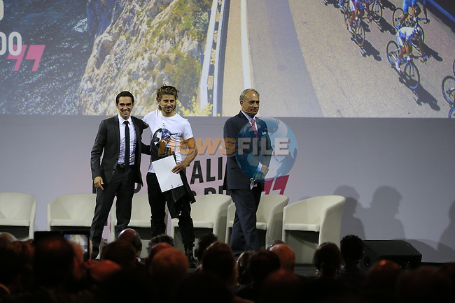 Defending Giro Champion Alberto Contador (ESP), newly crowned World Champion Peter Sagan (SVK) and Andrea Monti, La Gazzetta dello Sport Editor-in-Chief, on stage at the Giro d'Italia 2016 Presentation held at Expo Milano, Milan, Italy. 5th October 2015.<br /> Picture: Eoin Clarke | Newsfile