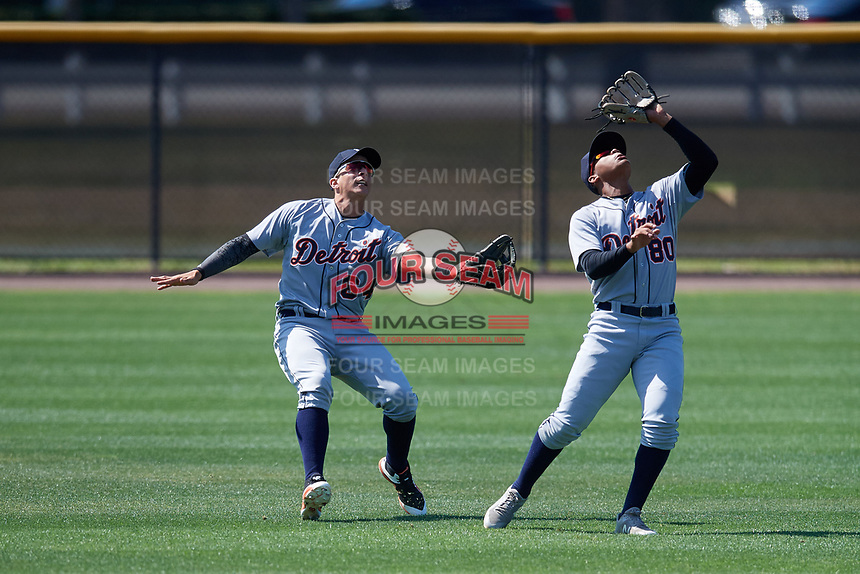 Detroit Tigers Wenceel Perez (80) and Julio Martinez (64) during a Minor League Spring Training game against the New York Yankees on March 21, 2018 at the New York Yankees Minor League Complex in Tampa, Florida.  (Mike Janes/Four Seam Images)