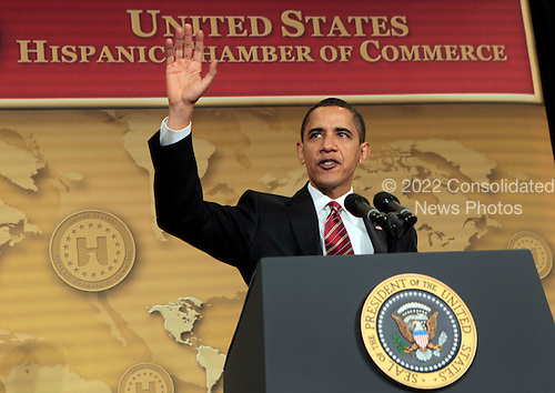 Washington, DC - Mach 10, 2009 -- United States President Barack Obama  waves after delivering remarks at the U.S. Hispanic Chamber of Commerce's 19th Annual Legislative Conference at the Washington Marriott, Washington DC, Tuesday, March 10, 2009..Credit: Aude Guerrucci - Pool via CNP