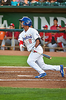 Kelvin Ramos (8) of the Ogden Raptors at bat against the Orem Owlz in Pioneer League action at Lindquist Field on August 28, 2015 in Ogden, Utah. Ogden defeated Orem 14-6. (Stephen Smith/Four Seam Images)