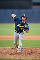 Montgomery Biscuits relief pitcher Phoenix Sanders (33) during a Southern League game against the Biloxi Shuckers on May 8, 2019 at MGM Park in Biloxi, Mississippi.  Biloxi defeated Montgomery 4-2.  (Mike Janes/Four Seam Images)