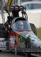 Aug 18, 2018; Brainerd, MN, USA; Crew member for NHRA top fuel driver Terry McMillen during qualifying for the Lucas Oil Nationals at Brainerd International Raceway. Mandatory Credit: Mark J. Rebilas-USA TODAY Sports