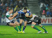 01/01/2016;Guinness PRO12 Round 11 - Leinster v Conacht, RDS, Dublin.<br /> Leinster's Rob Kearney is tackled by Matt Healy and Jake Heenan of Connacht.<br /> Photo Credit: actionshots.ie/Tommy Grealy