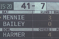 The scoreboard shows that Lancashire are in some trouble at 41 for 7 during Lancashire CCC vs Essex CCC, Specsavers County Championship Division 1 Cricket at Emirates Old Trafford on 11th June 2018