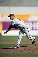Lancaster JetHawks starting pitcher Ty Culbreth (11) follows through on his delivery during a California League game against the San Jose Giants at San Jose Municipal Stadium on May 12, 2018 in San Jose, California. Lancaster defeated San Jose 7-6. (Zachary Lucy/Four Seam Images)