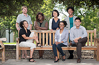 Occidental College's new tenure-track faculty in the Academic Quad on Sept. 12, 2016.<br /> Standing, back row, from left: Darren Larsen (geology), Kelema Lee Moses (AHVA), Mijin Cha (UEP), and Ainsley LeSure (Politics).<br /> Seated, from left: Courtney Baker (American Studies), Erica Ball (American Studies), and John Liu (Sociology).<br /> (Photo by Marc Campos, Occidental College Photographer)