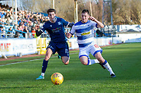 1st February 2020; Cappielow Park, Greenock, Inverclyde, Scotland; Scottish Championship Football, Greenock Morton versus Dundee Football Club; Oliver Crankshaw of Dundee challenges for the ball with Kalvin Orsi of Greenock Morton