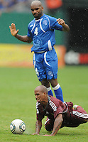 Venezuela forward Yonathan Del Valle (7) gets fouled by EL Salvador defender Cristian Esnal (4). El Salvador National Team defeated Venezuela 3-2 in an international friendly at RFK Stadium, Sunday August 7, 2011.