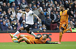 Le Evans of Wolves tackles Cyrus Christie of Derby - Football - Sky Bet Championship - Derby County vs Wolverhampton Wanderers - iPro Stadium Derby - Season 2014/15 - 8th November 2014 - Photo Malcolm Couzens/Sportimage