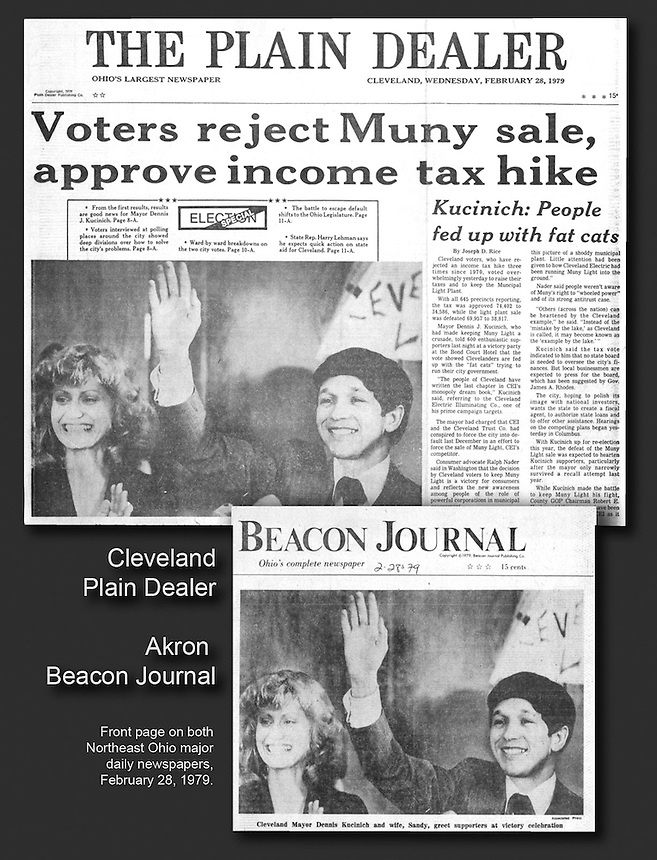 Dennis Kucinich was a young mayor of Cleveland, and my Associated Press photo of his victory after a tax hike vote made the front page of the major daily newspapers in Cleveland and Akron.