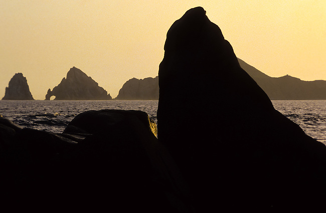 Coastal rocks silhouettet against the afternoon sun and the Cabo San Lucas natural stone bridge in Baja California