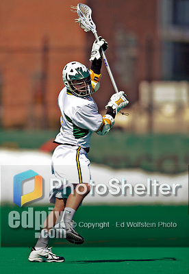 23 March 2008: University of Vermont Catamounts' Ryan Gillette, a Sophomore from Lowville, NY, in action against the Bellarmine University Knights at Moulton Winder Field, in Burlington, Vermont. The Catamounts defeated the visiting Knights 9-7 at the Vermont home opener...Mandatory Photo Credit: Ed Wolfstein Photo