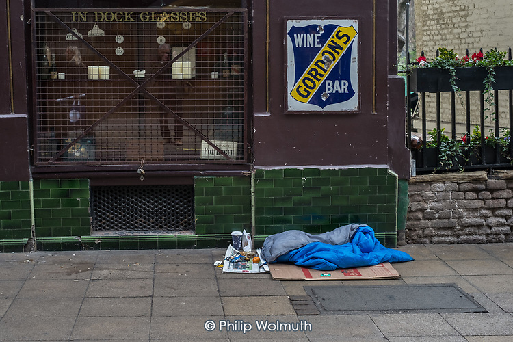 Sleeping place of homeless rough sleeper, London Charing Cross.
