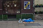 Sleeping place of homeless rough sleeper, London Charing Cross.