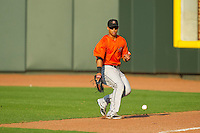 Frederick Keys right fielder Brenden Webb (17) tracks down the baseball during the game against the Winston-Salem Dash at BB&T Ballpark on May 28, 2013 in Winston-Salem, North Carolina.  The Dash defeated the Keys 17-5 in the first game of a double-header.  (Brian Westerholt/Four Seam Images)