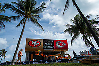MIAMI, USA - January 24: People walk near the Super Bowl XLIV fan zone on January 24, 2020 in Miami Beach, USA.  The Super Bowl XLIV will take place in the Hard Rock Stadium in Miami between the teams 49ers vs. Chiefs, and it will be played on Sunday, Feb. 2, 2020. (Photo by VIEWpress)