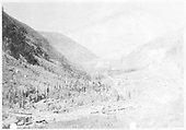 A copy from an old mining journal of an elevated, distant view of Telluride from the Smuggler mine.<br /> RGS  Pandora, CO  ca. 1890