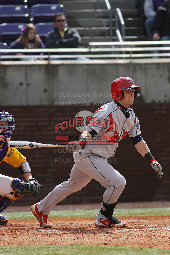 Stony Brook Seawolves infielder Maxx Tissenbaum #8 at bat during a game against the East Carolina University Pirates at Clark-LeClair Stadium on March 4, 2012 in Greenville, NC.  East Carolina defeated Stony Brook 4-3. (Robert Gurganus/Four Seam Images)