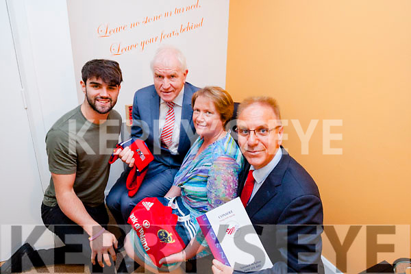 Cormac Coffey (friend of Donal Walsh), Minister for Diaspora Affairs Jimmy Deenihan TD, Elma Walsh and Paul Kelly (Founder and CEO of Console) at the opening of the new Suicide prevention counselling rooms in honour of Donal Walsh on Friday.