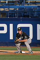 Ryan Drobny (20) of the Cal Poly Mustangs in the field during a game against the Cal State Fullerton Titans at Goodwin Field on April 2, 2015 in Fullerton, California. Cal Poly defeated Cal State Fullerton, 5-0. (Larry Goren/Four Seam Images)
