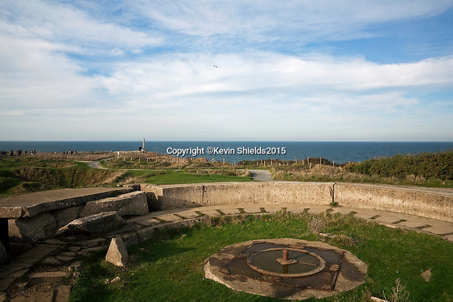 German gun position at Pointe du Hoc, a promontory between Utah Beach and Omaha Beach, Normandy, France.