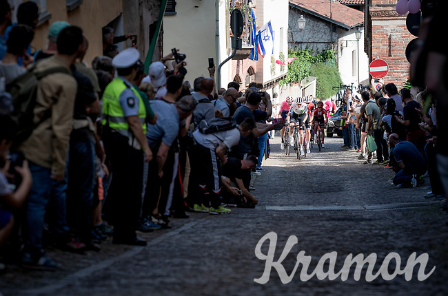 cheered up the steep, cobbled & crowded climb in Pinerolo<br /> <br /> Stage 12: Cuneo to Pinerolo (158km)<br /> 102nd Giro d'Italia 2019<br /> <br /> ©kramon