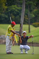 Cheng JIN (CHN) looks over his putt on 2 during Rd 3 of the Asia-Pacific Amateur Championship, Sentosa Golf Club, Singapore. 10/6/2018.<br /> Picture: Golffile | Ken Murray<br /> <br /> <br /> All photo usage must carry mandatory copyright credit (© Golffile | Ken Murray)