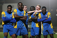 Carlos Djalo Oso of Romford (3rd R) scores the second goal for his team and celebrates during Romford vs Norwich United, Bostik League Division 1 North Football at Ship Lane on 11th April 2018
