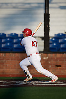 Johnson City Cardinals catcher Carlos Soto (47) follows through on a swing during a game against the Danville Braves on July 29, 2018 at TVA Credit Union Ballpark in Johnson City, Tennessee.  Johnson City defeated Danville 8-1.  (Mike Janes/Four Seam Images)