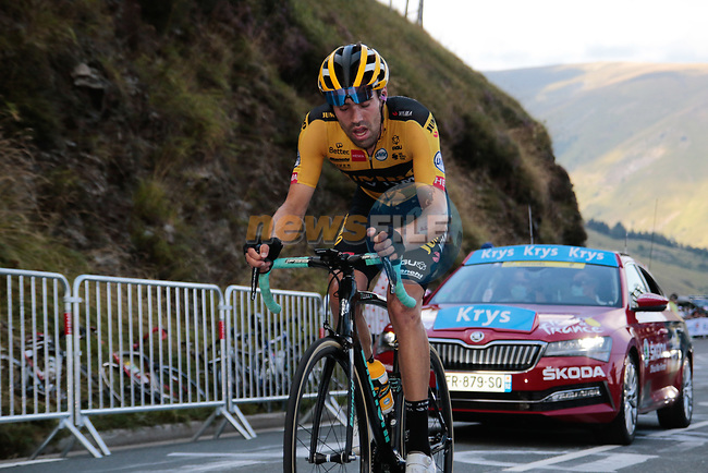 Tom Dumoulin (NED) Team Jumbo-Visma climbs the Col de Peyresourde in front during Stage 8 of Tour de France 2020, running 141km from Cazeres-sur-Garonne to Loudenvielle, France. 5th September 2020. <br /> Picture: Colin Flockton   Cyclefile<br /> All photos usage must carry mandatory copyright credit (© Cyclefile   Colin Flockton)
