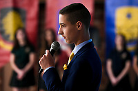 NWA Democrat-Gazette/CHARLIE KAIJO 8th grader Joey Patch speaks during an open house, Sunday, March 4, 2018 at Ozark Catholic Academy in Tontitown. He will be part of the school's inaugural class<br /><br />Ozark Catholic Academy, which is gearing up to open this fall, celebrated a milestone as they announced their mascot.