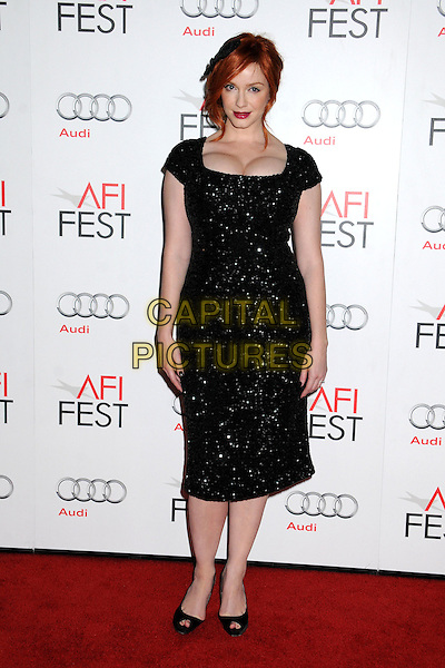 Christina Hendricks.AFI FEST 2012 'Ginger And Rosa' special screening, Grauman's Chinese Theatre, Hollywood, California, USA..7th November 2012.full length dress peep toe shoes black beads beaded cleavage hair accessory .CAP/ADM/BP.©Byron Purvis/AdMedia/Capital Pictures.