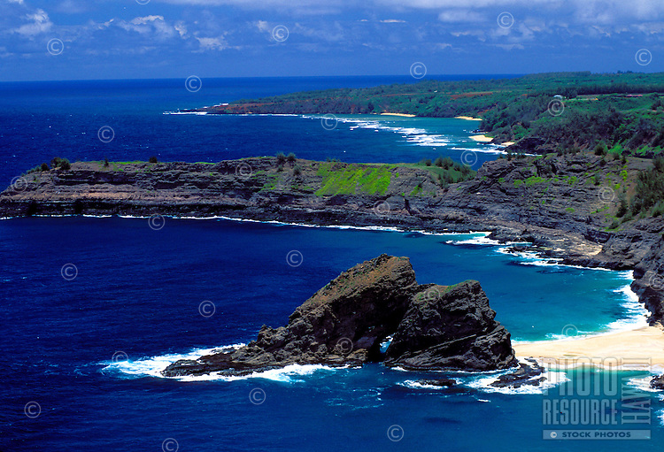 Mokolea Point, part of Kilauea Point national wildlife refuge, taken from Kilauea crater hill hike, Kauai