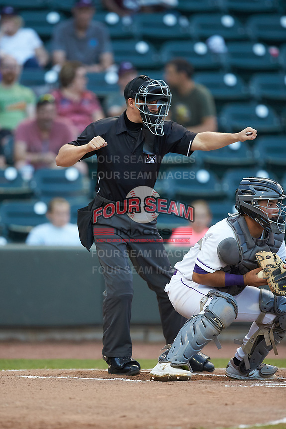 Home plate umpire Steven Jaschinski calls a batter out on strikes during the Carolina League game between the Carolina Mudcats and the Winston-Salem Dash at BB&T Ballpark on June 1, 2019 in Winston-Salem, North Carolina. The Dash defeated the Mudcats 5-4 in game two of a double header. (Brian Westerholt/Four Seam Images)