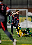 13 November 2019: University of Hartford Hawk Midfielder Sergi Martinez, a Sophomore from Barcelona, Spain, in action against the University of Vermont Catamounts at Virtue Field in Burlington, Vermont. The Hawks defeated the Catamounts 3-2 in sudden death overtime of the Division 1 Men's Soccer America East matchup. Mandatory Credit: Ed Wolfstein Photo *** RAW (NEF) Image File Available ***