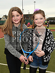 Lauren Nolan and Darcy Currie at the Laytown and Bettystown Tennis Club Promotion day. Photo:Colin Bell/pressphotos.ie