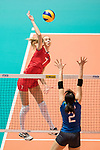Opposite spiker Anna Lazareva of Russia (L) spikes the ball during the FIVB Volleyball World Grand Prix match between Japan vs Russia on 23 July 2017 in Hong Kong, China. Photo by Marcio Rodrigo Machado / Power Sport Images
