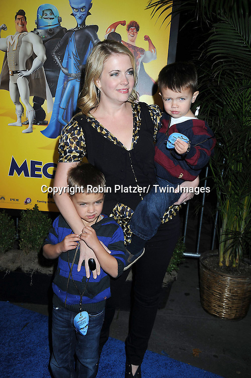 """Melissa Joan Hart and sons Mason and Bradon at the New York Premiere of """" Megamind"""" .on November 3, 2010 at the AMC Lincoln Square Theatre."""