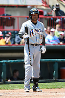 Akron RubberDucks third baseman Ronny Rodriguez (15) at bat during a game against the Erie SeaWolves on May 18, 2014 at Jerry Uht Park in Erie, Pennsylvania.  Akron defeated Erie 2-1.  (Mike Janes/Four Seam Images)