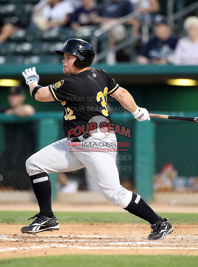 Paul McAnulty #32 of the Salt Lee Bees plays in a Pacific Coast League game against the Tucson Padres  at Kino Stadium on April 17, 2011  in Tucson, Arizona. .Photo by:  Bill Mitchell/Four Seam Images.